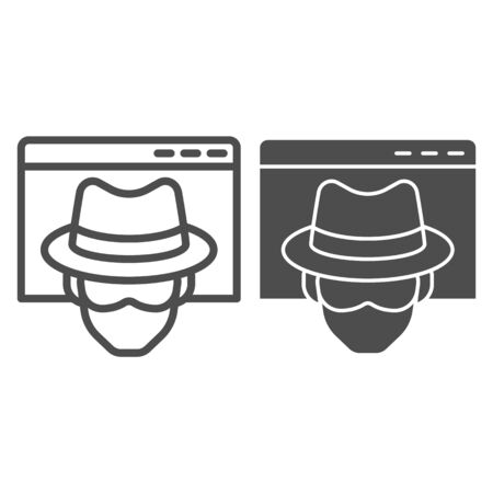 Anonymous browser line and solid icon. Browser with malefactor incognito net surfer.