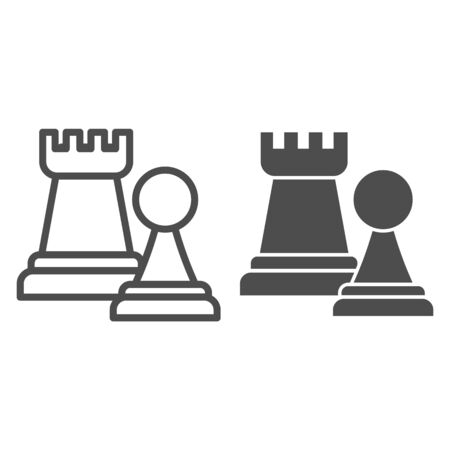 Chess figures line and solid icon. Rook and pawn figure.