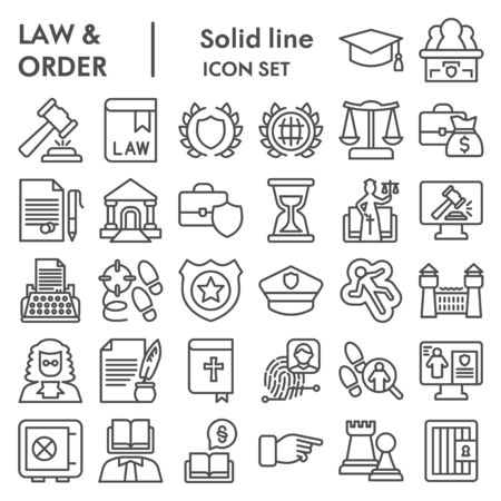 Jurisprudence line icon set, law and order collection