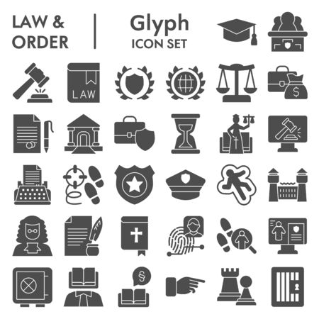 Jurisprudence glyph icon set, law and order collection Vettoriali