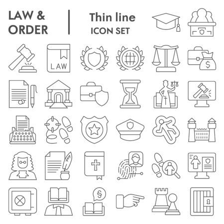 Jurisprudence thin line icon set, law and order collection