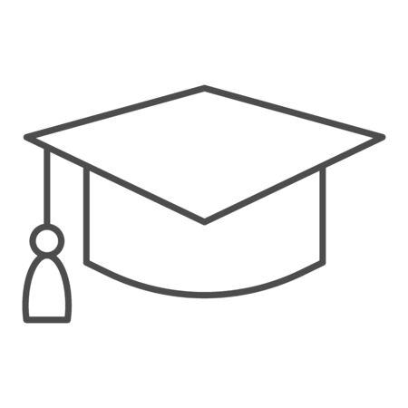 Student hat thin line icon. Graduation black square cup. Ilustração Vetorial