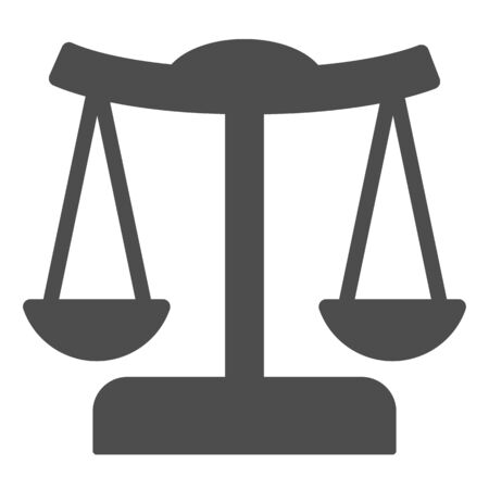 Scales solid icon. Judgment balance, justice scale.
