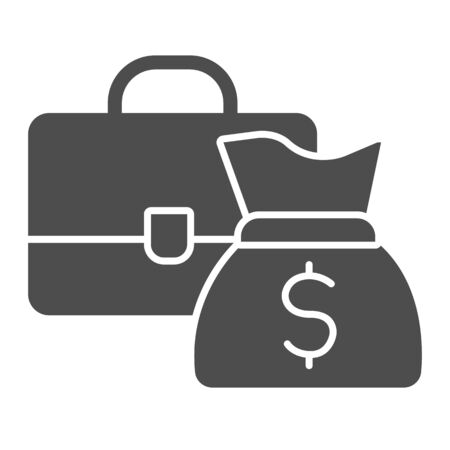 Briefcase and bag with money solid icon.