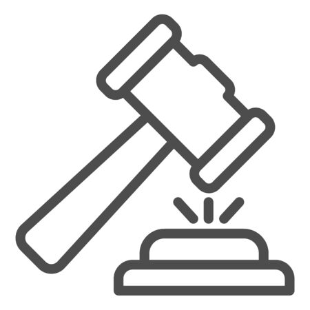 Judge hammer line icon. Court judges gavel or auction, attribute of justice. Illustration