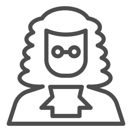 Judge in a wig line icon. A lawyer with peruke and glasses.