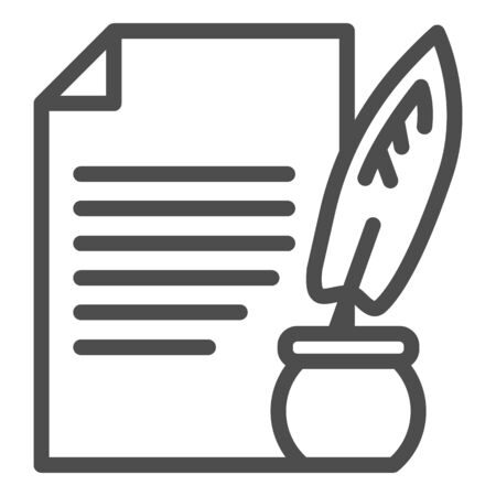 Document and ink pen line icon. Paper scroll with feather, ancient sheet and quill. Vectores