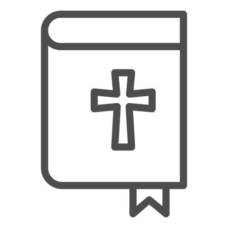 Holy bible line icon. Pocketbook with cross sign and bookmark. 向量圖像