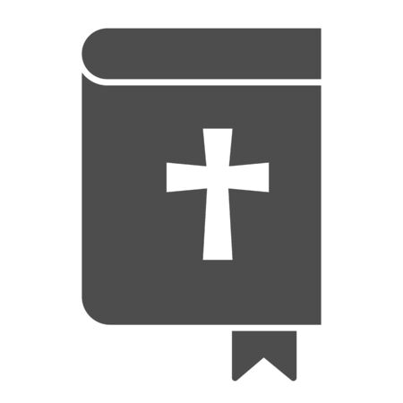 Holy bible solid icon. Pocketbook with cross sign and bookmark.