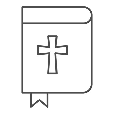 Holy bible thin line icon. Pocketbook with cross sign and bookmark. 向量圖像