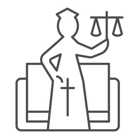 Justice figure thin line icon. Stylized goddess of justice, themis and book. Иллюстрация