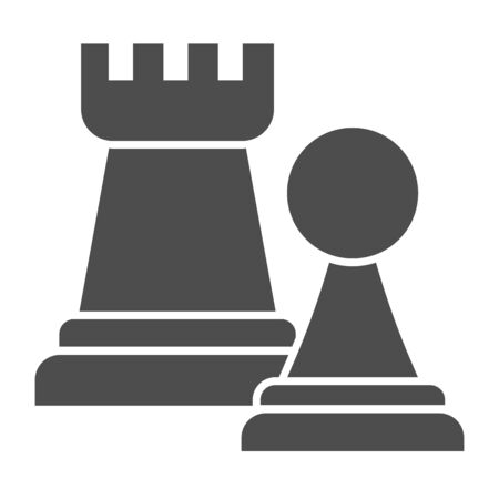 Chess figures solid icon. Rook and pawn figure.