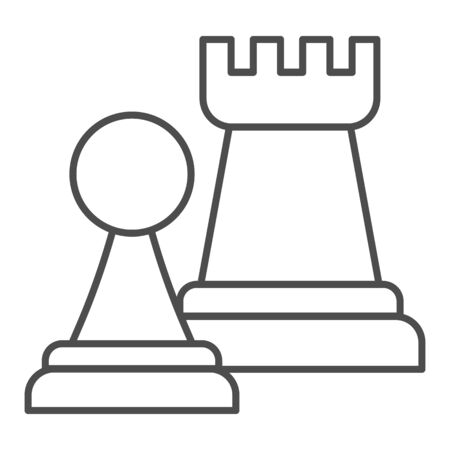 Chess figures thin line icon. Rook and pawn figure.