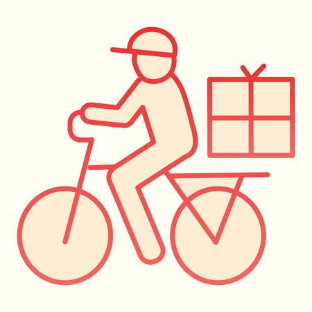 Postman riding bicycle line icon. Mail delivery man on bike with box. Postal service design concept, outline style pictogram Vettoriali