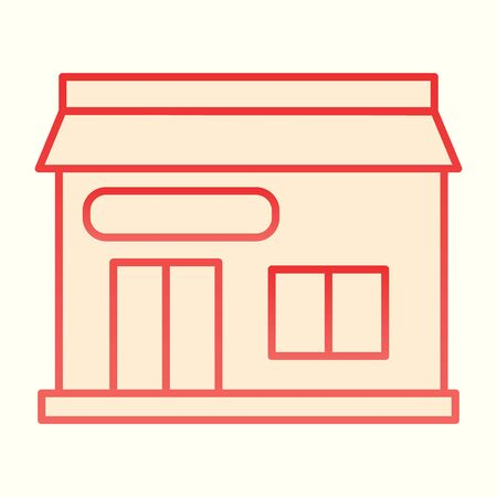 Post office house line icon. Public place postage building.