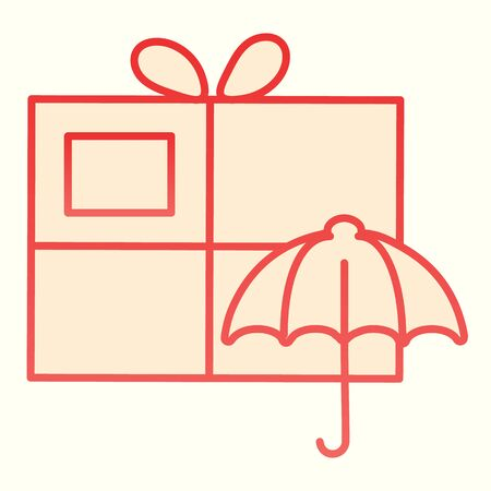 Keep away from water sign on box line icon. Umbrella and parcel package.