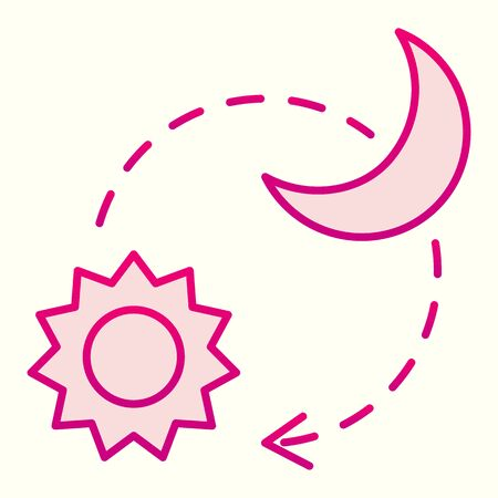 Sun and moon line icon. Day and night timelapse sign. Astronomy vector design concept, outline style pictogram on white background, use for web and app. Eps 10.