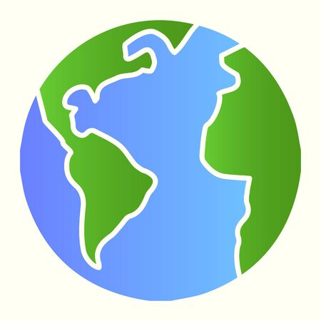 Planet Earth line icon. World view with oceans and continents. Astronomy vector design concept, outline style pictogram on white background, use for web and app. Eps 10.