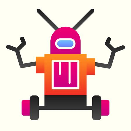 Robot line icon. Anthropomorphic android device with antennas on its head. Astronomy vector design concept, outline style pictogram on white background, use for web and app. Eps 10.
