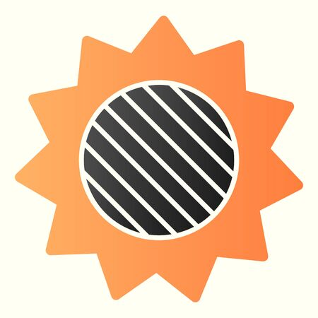 Solar eclipse line icon. Full lunar spot on sun in skyscape.