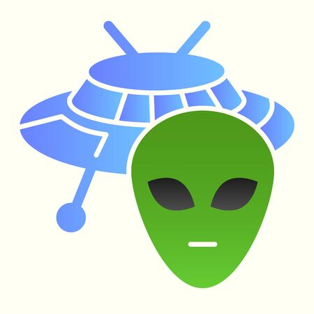 Alien and ufo line icon. Spaceship with face, life on other planets sign.