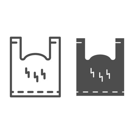 Cellophane package line and solid icon. Polyethylene pack with handles. Plastic products design concept, outline style pictogram on white background, use for web and app. Eps 10.