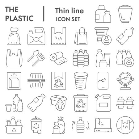 Plastic products thin line icon set. Zero waste collection, vector sketches, logo illustrations, web symbols, outline pictograms package isolated on white background, eps 10