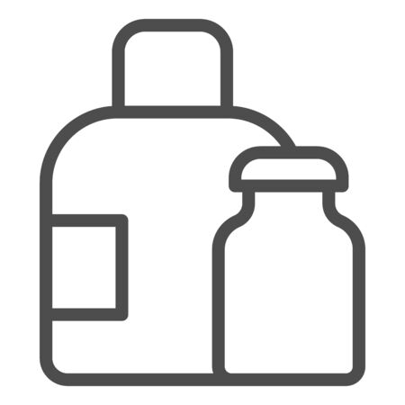 Water bottles line icon. Medical packaging container for liquid. Plastic products design concept, outline style pictogram on white background, use for web and app. Eps 10 向量圖像