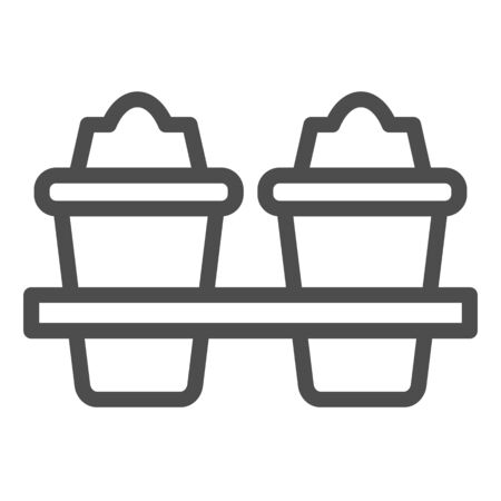 Two plastic coffee cups line icon. Takeaway travel mugs for hot liquids. Plastic products design concept, outline style pictogram on white background, use for web and app. Eps 10. Vectores