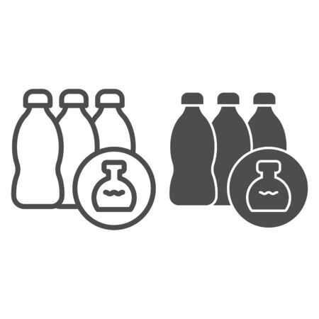 Chemistry detergents line and solid icon. Three plastic water bottle and flask button. Zero waste design concept, outline style pictogram on white background, use for web and app. Eps 10. Archivio Fotografico - 140979959