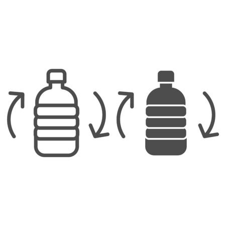 Recycling bottle line and solid icon. Recycle plastic can with arrows, biodegradable materials. Zero waste design concept, outline style pictogram on white background, use for web and app. Eps 10. Vettoriali