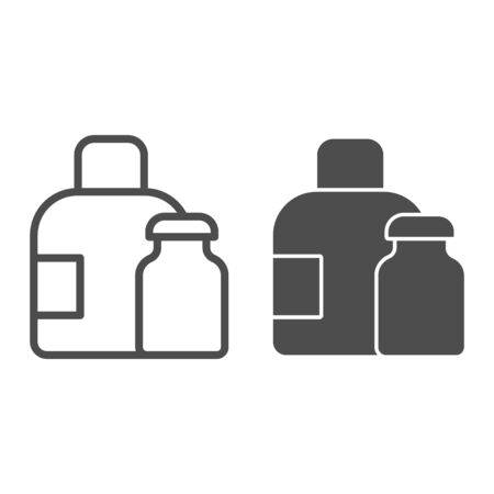 Water bottles line and solid icon. Medical packaging container for liquid. Plastic products design concept, outline style pictogram on white background, use for web and app. Eps 10.