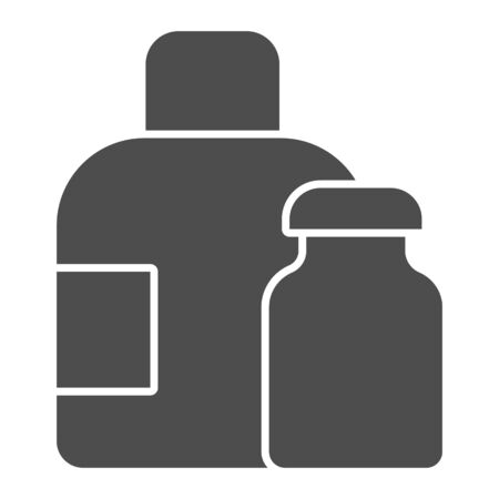 Water bottles solid icon. Medical packaging container for liquid. Plastic products design concept, glyph style pictogram on white background, use for web and app. Eps 10.