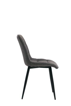 dark textile gray chair isolated on white background. modern dark gray stool side view. soft comfortable upholstered chair. interrior furniture element