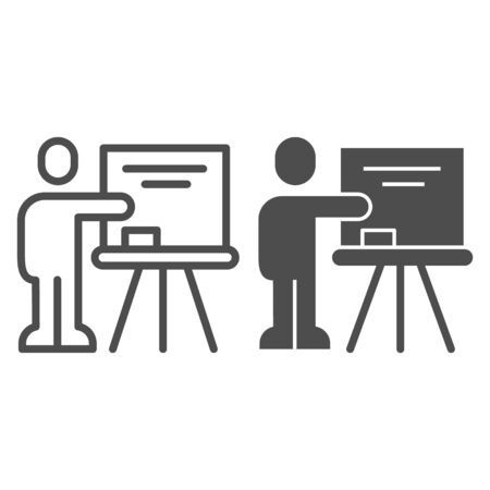 Teacher at blackboard line and solid icon. Visual presentation, lector pointing at board. Education vector design concept, outline style pictogram on white background. Illustration