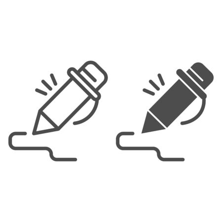 Pen line and solid icon. Pencil signing stroke, writing art. School vector design concept, outline style pictogram on white background.