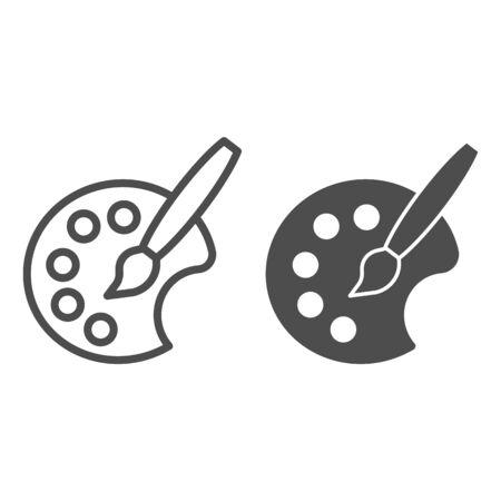 Fine art pallet line and solid icon. Painter color palette with artistic brush. Artist education vector design concept, outline style pictogram on white background Ilustração