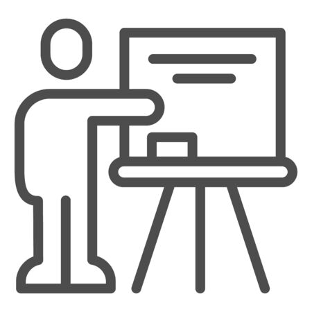 Teacher at blackboard line icon. Visual presentation, lector pointing at board. Education vector design concept, outline style pictogram on white background.