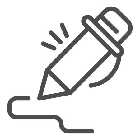 Pen line icon. Pencil signing stroke, writing art. School vector design concept, outline style pictogram on white background.