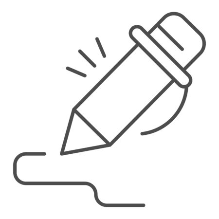 Pen thin line icon. Pencil signing stroke, writing art. School vector design concept, outline style pictogram on white background.