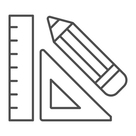 Ruler and pencil thin line icon. Drawing math tools, classic school mathematic instrument. Geometry subject vector design concept, outline style pictogram on white background.