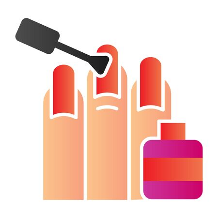 Nail polishing flat icon. Nails painting vector illustration isolated on white. Manicure salon gradient style design, designed for web and app. Eps 10.
