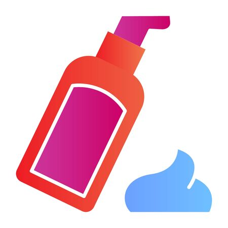 Body lotion flat icon. Cosmetic bottle vector illustration isolated on white. Skin care gradient style design, designed for web and app. Eps 10 Ilustrace