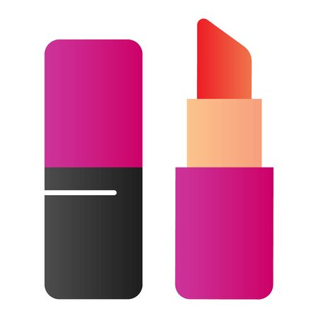 Lipstick flat icon. Decorative cosmetic vector illustration isolated on white. Compact lipstick gradient style design, designed for web and app. Eps 10.