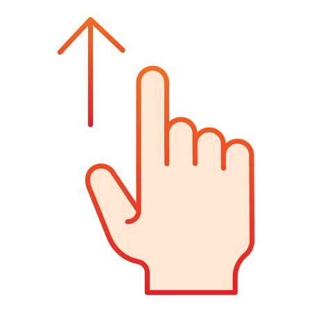 Swipe up flat icon. Touch screen gestures vector illustration isolated on white. Scrolling gesture gradient style design, designed for web and app. Eps 10.