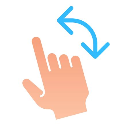 Turn left gesture flat icon. Swipe vector illustration isolated on white. Flick to left gradient style design, designed for web and app. Eps 10.