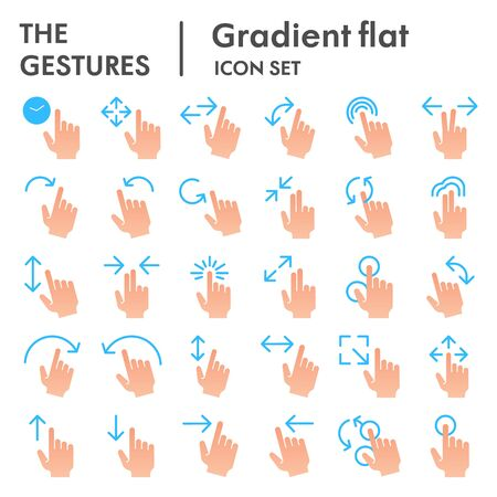 Gestures flat icon set, hand symbols collection, vector sketches, logo illustrations, tap signs gradient pictograms package isolated on white background, eps 10.