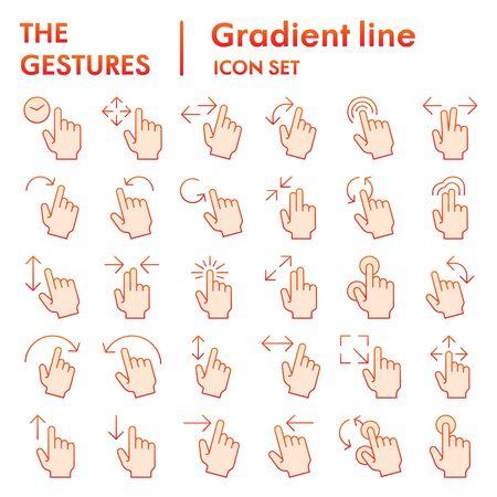 Ensemble d'icônes plates de gestes, collection de symboles de main, croquis de vecteur, illustrations de logo, paquet de pictogrammes de dégradé de signes de robinet isolé sur fond blanc, eps 10.