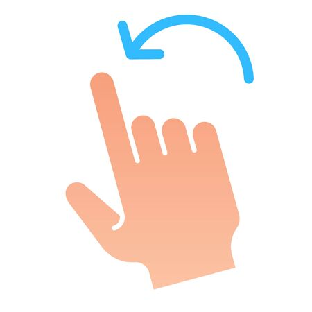 Flick left gesture flat icon. Swipe to left vector illustration isolated on white. Click gradient style design, designed for web and app. Eps 10.