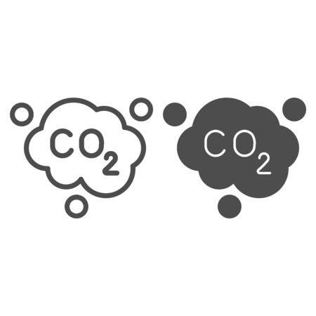 Carbon dioxide formula line and solid icon. Air emissions CO2, smog cloud. Oil industry vector design concept, outline style pictogram on white background.